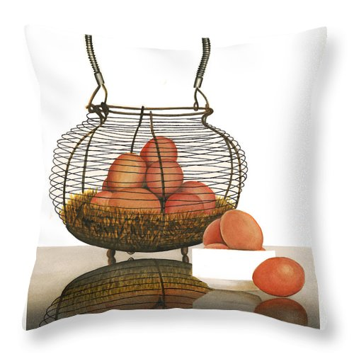 Eggs Throw Pillow featuring the painting Cackleberries by Ferrel Cordle
