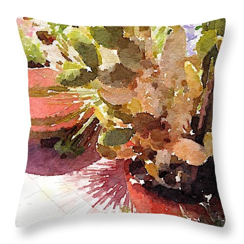 Cactus Throw Pillow featuring the digital art Cactus Garden by Shannon Grissom