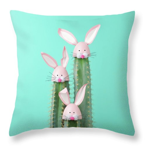 Easter Bunny Throw Pillow featuring the photograph Cactus With Easter Rabbit Decorations by Juj Winn