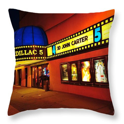 Cadillac 5 Movie Theater In Cadillac Michigan Throw Pillow for Sale