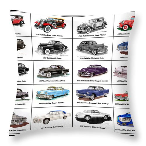 Cadillac And Lasalle Artwork Throw Pillow featuring the painting Cadillac La Salle Automotive Poster by Jack Pumphrey