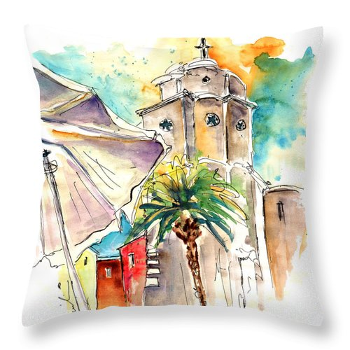Travel Throw Pillow featuring the painting Cadiz Spain 12 by Miki De Goodaboom