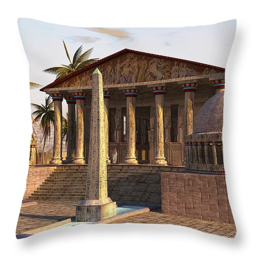 Alexandria Throw Pillow featuring the painting Caesareum Temple Ancient Alexandria by Don Dixon