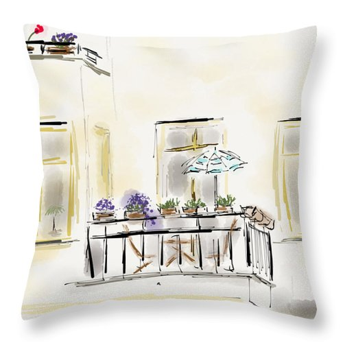 Berlin Watercolor Throw Pillow featuring the painting Cafe At Gorky Park Berlin by Michael Hodgson