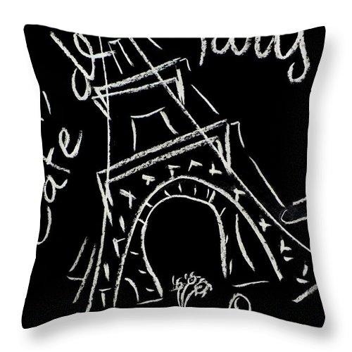 Tour Eiffel Artwork Throw Pillow featuring the digital art Cafe De Paris by Corinne de la garrigue