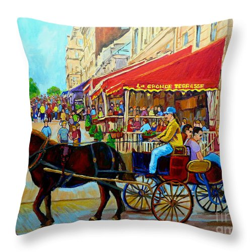 Cafe La Grande Terrasse Throw Pillow featuring the painting Cafe La Grande Terrasse by Carole Spandau