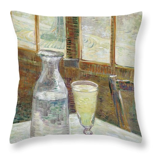 1887 Throw Pillow featuring the painting Cafe Table With Absinth by Vincent van Gogh