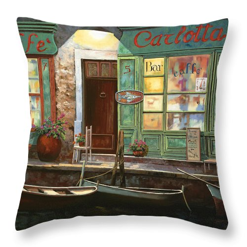 Venice Throw Pillow featuring the painting caffe Carlotta by Guido Borelli