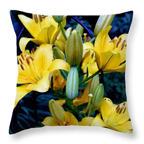 Yellow Flowers Throw Pillow featuring the photograph Caged Lilies by Hanne Lore Koehler
