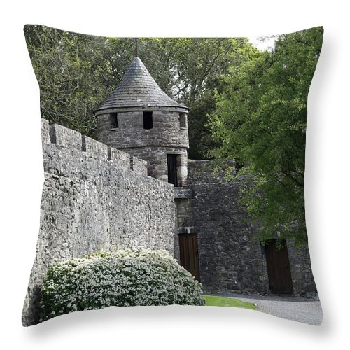 Cahir Castle Throw Pillow featuring the photograph Cahir Castle Wall And Tower by Christiane Schulze Art And Photography