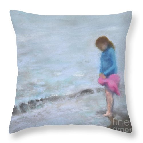 Beach Throw Pillow featuring the painting Cait At Dugan's Cove by Vicki Baun Barry