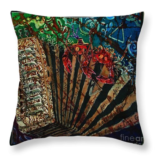 Acadian Throw Pillow featuring the painting Cajun Accordian - Bordered by Sue Duda