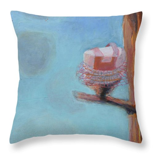 Abstract Modern Outsider Raw Cake Tree Nest Branch Cloud Three Landscape Birthday Texture Blue Forest Shadows Bakery Sky Pink Tutu Tutus Nests Limb Limbs Branches Clouds Snake Throw Pillow featuring the painting Cakes In Tutus In A Tree by Nancy Mauerman
