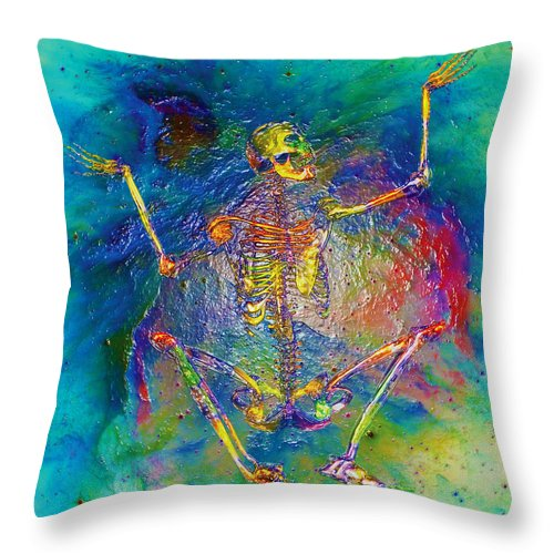 Digital Fantasy Skeleton Rainbow Conceptual Throw Pillow featuring the digital art Calcium Transmitter 1 by Clifford Powell