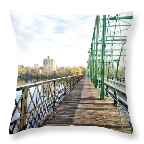 Calhoun Throw Pillow featuring the photograph Calhoun Street Bridge Walkway by Bill Cannon