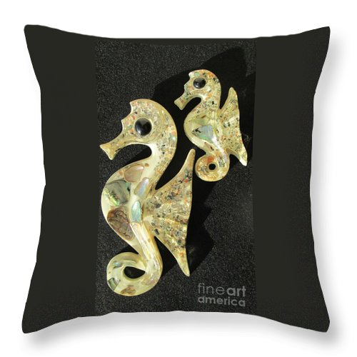 Seahorses Throw Pillow featuring the photograph California Mid Century Modern Abalone Sea Horses by Peter Ogden