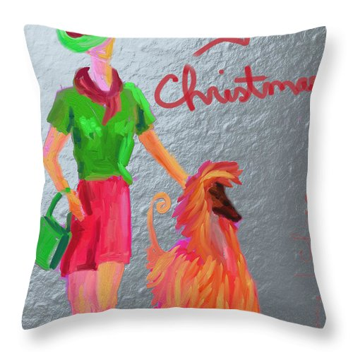 Christmas Card Throw Pillow featuring the digital art California Christmas by Terry Chacon