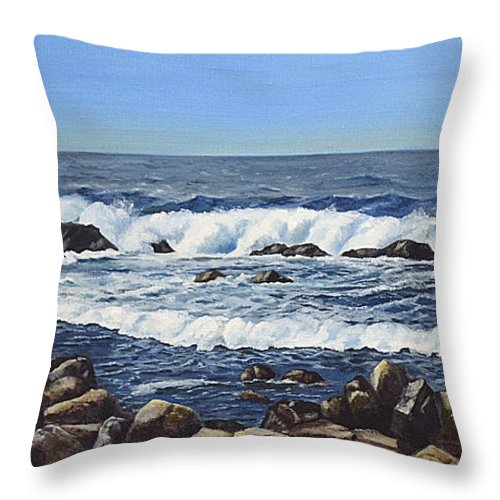 Art Throw Pillow featuring the painting California Coastline by Mary Rogers