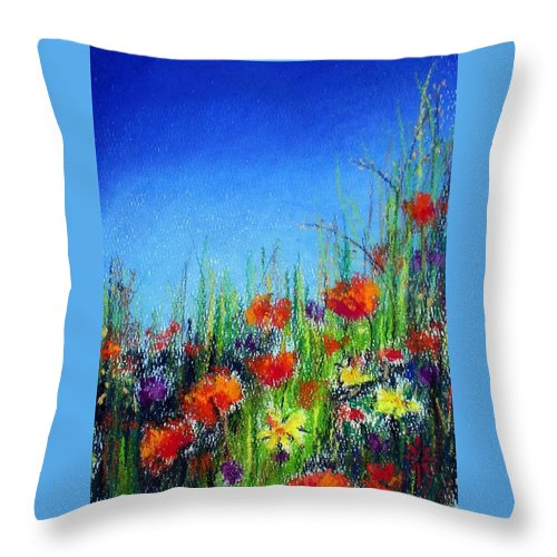 Spring Throw Pillow featuring the pastel California Dreaming by Jodie Marie Anne Richardson Traugott     aka jm-ART