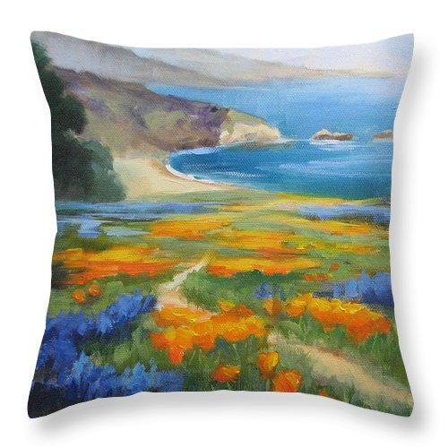 Big Sur Throw Pillow featuring the painting California Spring Big Sur Coast by Karin Leonard