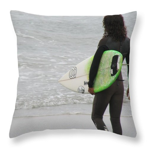Surfer Throw Pillow featuring the photograph California Surfing by DejaVu Designs