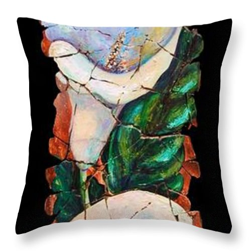 Fresco Antique Painting Flower Throw Pillow featuring the painting Calla Fresco by OLena Art Brand