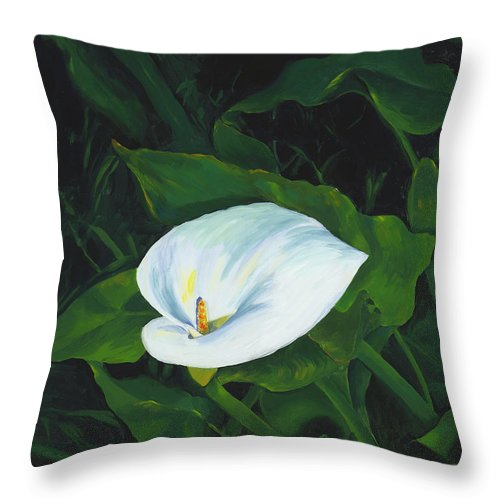 Calla Lily Throw Pillow featuring the painting Calla Lily In The Garden Of Diego And Frida by Judy Swerlick