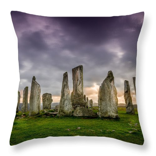 Callanish Throw Pillow featuring the photograph Callanish Stones by Peter OReilly