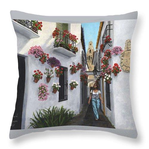 Landscape Throw Pillow featuring the painting Calleje De Las Flores Cordoba Spain by Richard Harpum
