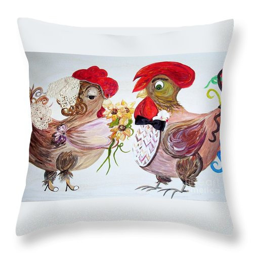 Rooster Throw Pillow featuring the painting Calling All Chicken Lovers Say I Do by Eloise Schneider Mote