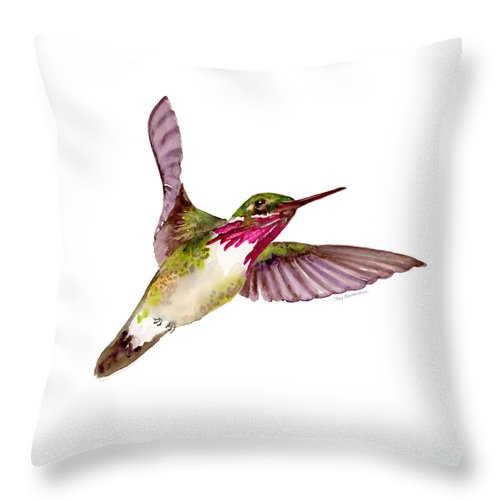 Bird Throw Pillow featuring the painting Calliope Hummingbird by Amy Kirkpatrick