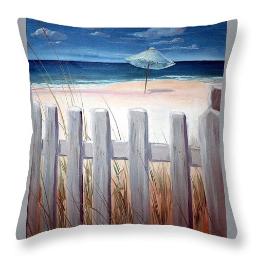 Blue Sky Throw Pillow featuring the painting Calm Day At The Seashore by Bernadette Krupa