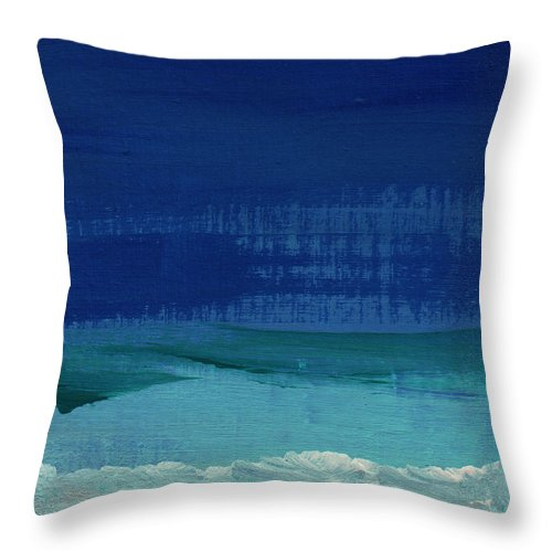 Abstract Art Throw Pillow featuring the painting Calm Waters- Abstract Landscape Painting by Linda Woods