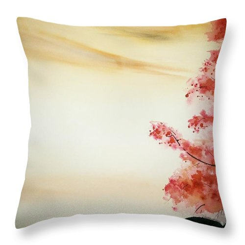 Landscape Throw Pillow featuring the painting calm waters III by Nidhi Bhatia