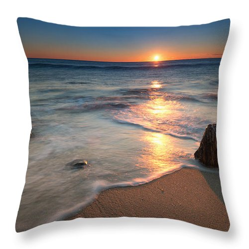 Sandy Hook Throw Pillow featuring the photograph Calm Winter Waves by Michael Ver Sprill