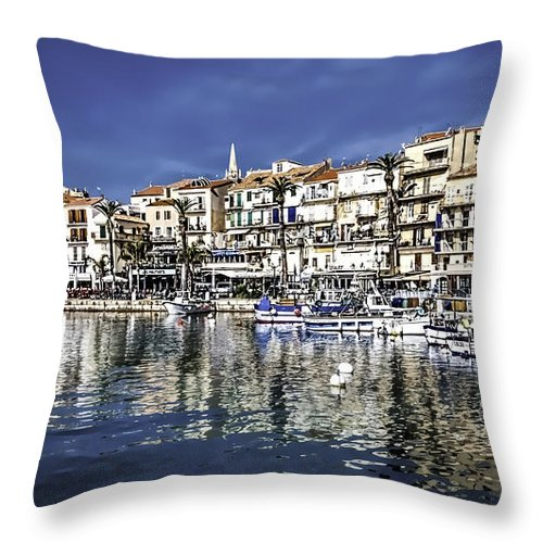 Architecture Throw Pillow featuring the photograph Calvi by Maria Coulson
