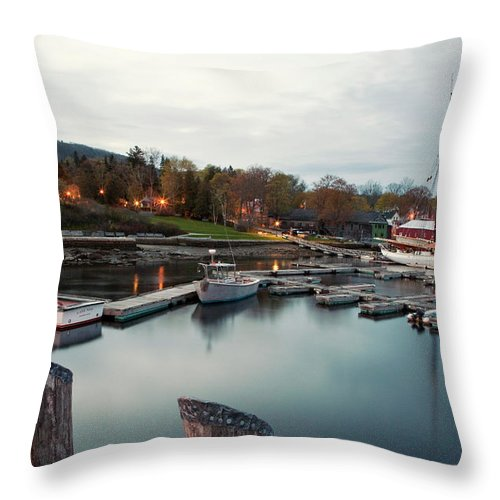 Camden Throw Pillow featuring the photograph Camden Harbor, Maine At Twighlight by Chris Bennett