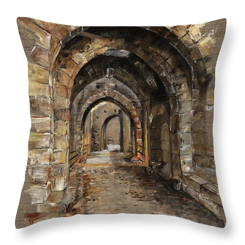 Camelot Throw Pillow featuring the painting Camelot - The Way To Ancient Times - Elena Yakubovich by Elena Yakubovich