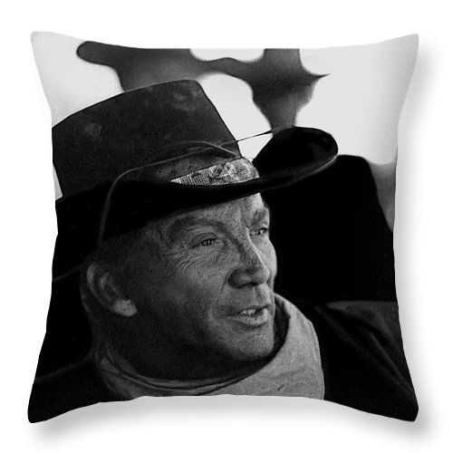 Cameron Mitchell The High Chaparral Set Old Tucson Arizona 1967-2008 Throw Pillow featuring the photograph Cameron Mitchell The High Chaparral Set Old Tucson Arizona 1967-2008 by David Lee Guss