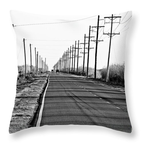 Black & White Throw Pillow featuring the photograph Cameron Prairie Road by Scott Pellegrin