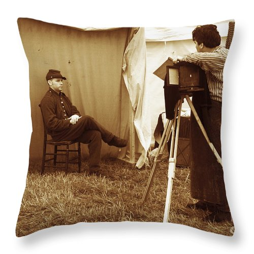 Civil War Throw Pillow featuring the photograph Camp Photographer by Paul W Faust - Impressions of Light