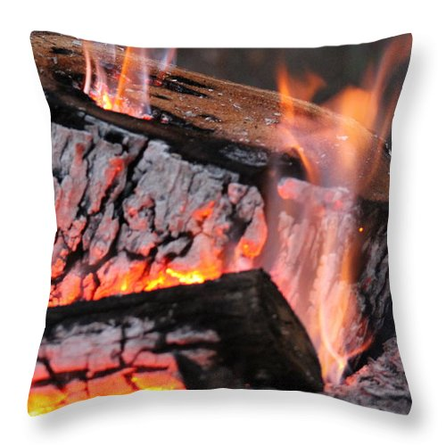 Campfire Throw Pillow featuring the photograph Campfire by Robin Vargo