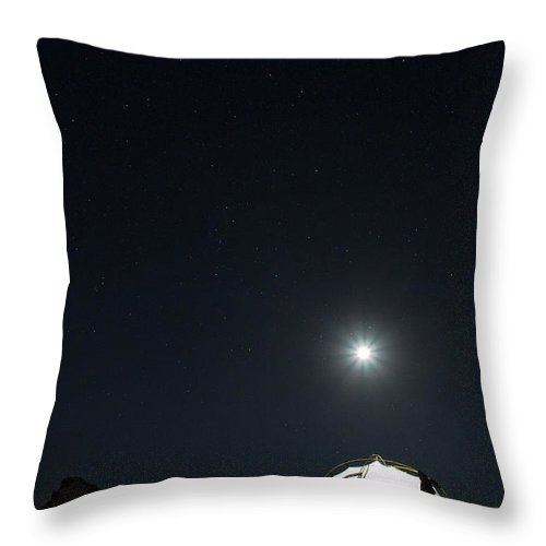 Camping Throw Pillow featuring the photograph Camping On The Beach Under The Moon And by Anna Henly