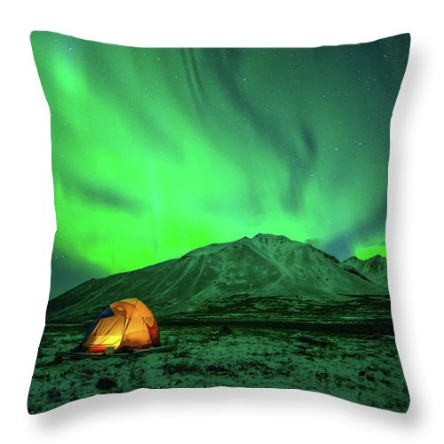 Camping Throw Pillow featuring the photograph Camping Under Northern Lights by Piriya Photography