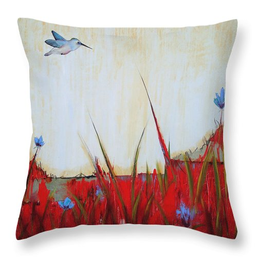 Birds Throw Pillow featuring the painting Campo Rojo by Thelma Zambrano