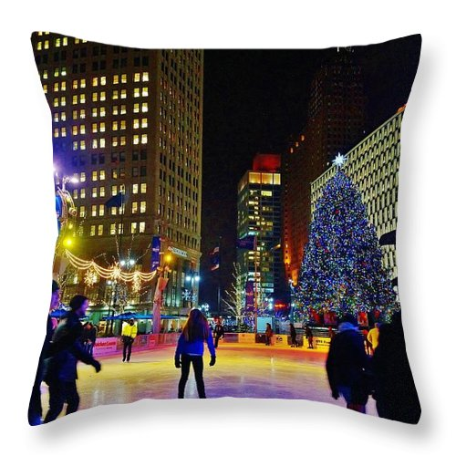 Throw Pillow featuring the photograph Campus Marcus Winter Night by Daniel Thompson