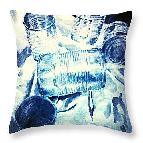 Can Throw Pillow featuring the painting Can Can by Jessica Faulk