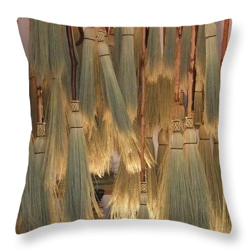 Canada Throw Pillow featuring the photograph Canada Vancouver Brooms by Coventry Wildeheart
