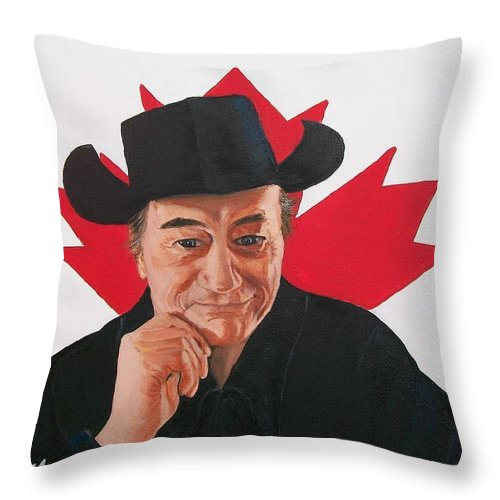 Patriotic Throw Pillow featuring the painting Canadian Icon Stompin' Tom Conners by Sharon Duguay