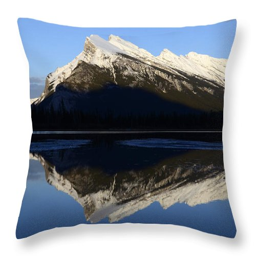 Mount Rundle Throw Pillow featuring the photograph Canadian Rockies Mount Rundle 1 by Bob Christopher